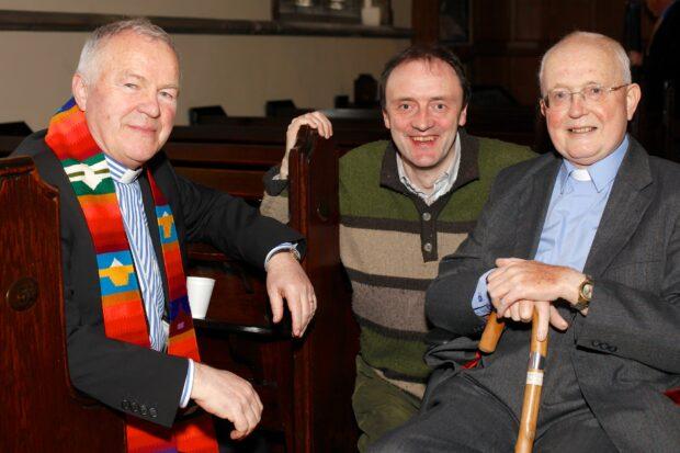 Revd Chris Hudson, Dr Richard O'Leary and the Revd Mervyn Kingston at the memorial service for PA Mag Lochlainn, 14th April 2013, All Souls Church, Belfast.